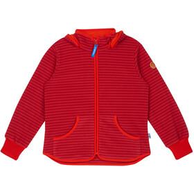 Finkid Kids Tonttu Striped Fleece Jacket cranberry/grenadine